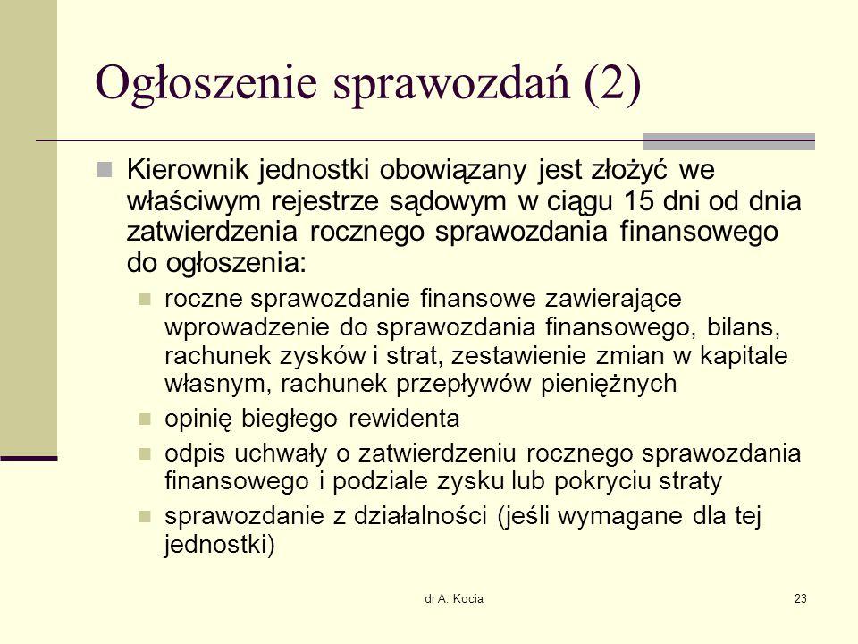 dr A. Kocia23 Ogłoszenie sprawozdań (2) Kierownik jednostki obowiązany jest złożyć we właściwym rejestrze sądowym w ciągu 15 dni od dnia zatwierdzenia