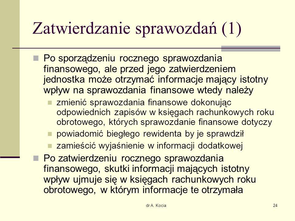 dr A. Kocia24 Zatwierdzanie sprawozdań (1) Po sporządzeniu rocznego sprawozdania finansowego, ale przed jego zatwierdzeniem jednostka może otrzymać in
