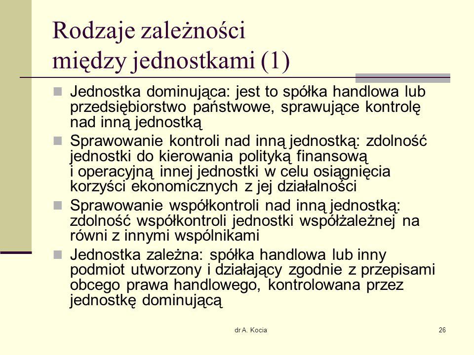 dr A. Kocia26 Rodzaje zależności między jednostkami (1) Jednostka dominująca: jest to spółka handlowa lub przedsiębiorstwo państwowe, sprawujące kontr