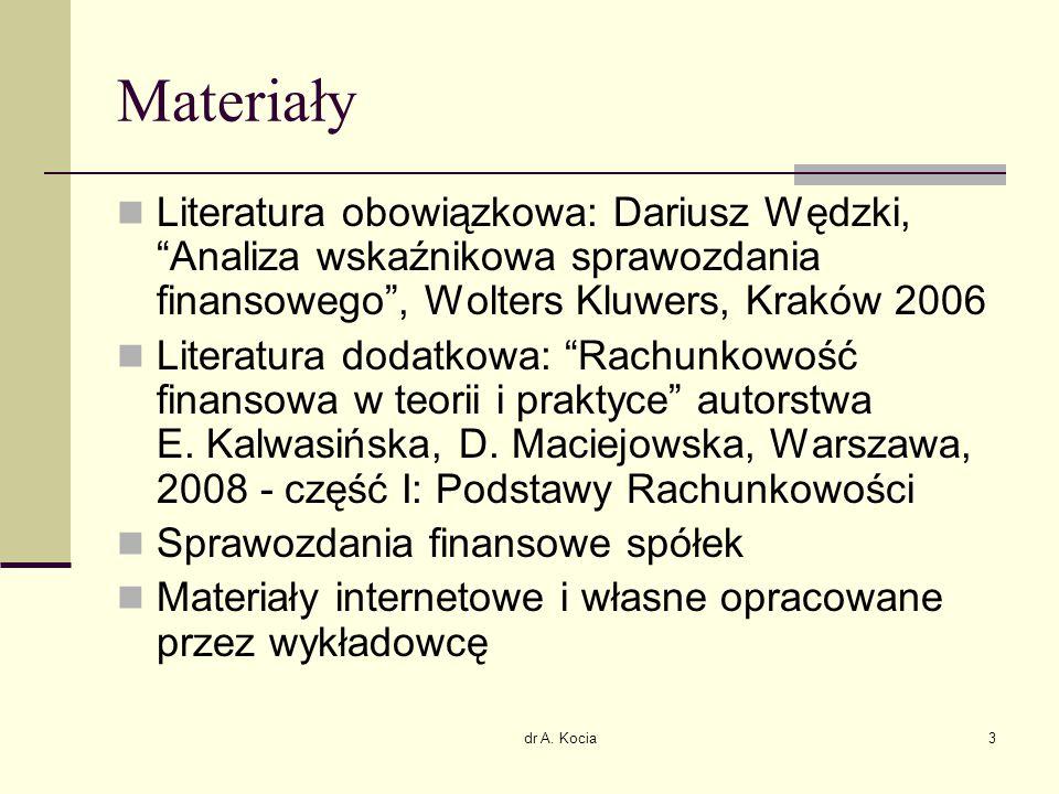 """dr A. Kocia3 Materiały Literatura obowiązkowa: Dariusz Wędzki, """"Analiza wskaźnikowa sprawozdania finansowego"""", Wolters Kluwers, Kraków 2006 Literatura"""
