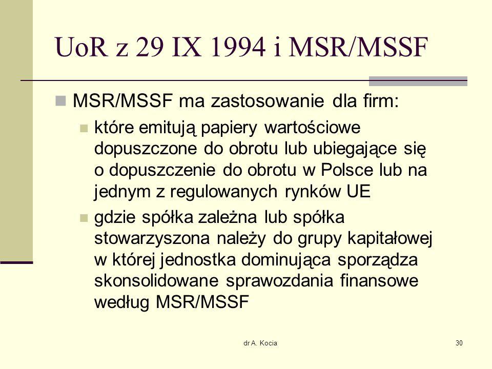 dr A. Kocia30 UoR z 29 IX 1994 i MSR/MSSF MSR/MSSF ma zastosowanie dla firm: które emitują papiery wartościowe dopuszczone do obrotu lub ubiegające si