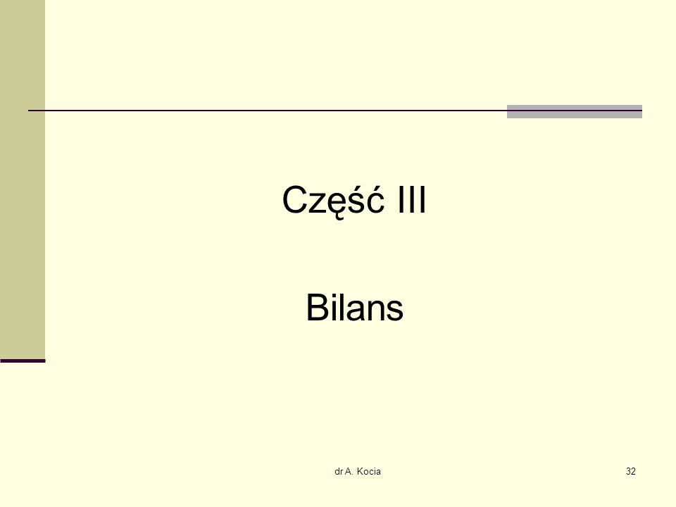 dr A. Kocia32 Część III Bilans
