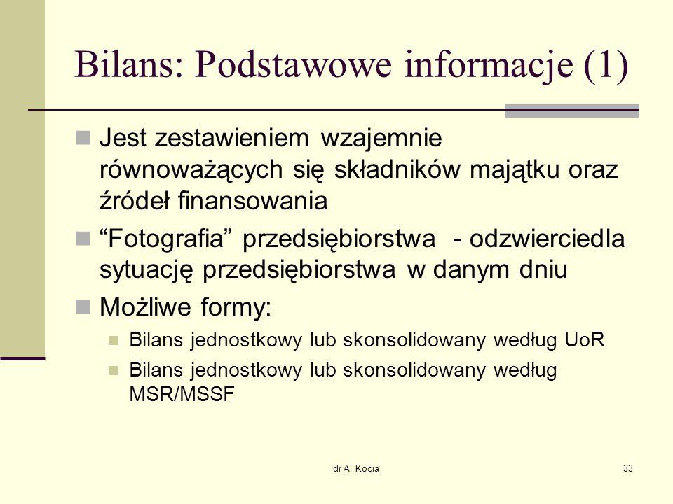 """dr A. Kocia33 Bilans: Podstawowe informacje (1) Jest zestawieniem wzajemnie równoważących się składników majątku oraz źródeł finansowania """"Fotografia"""""""