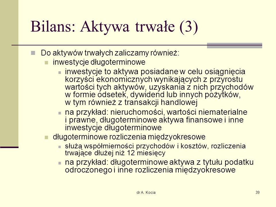 dr A. Kocia39 Bilans: Aktywa trwałe (3) Do aktywów trwałych zaliczamy również: inwestycje długoterminowe inwestycje to aktywa posiadane w celu osiągni