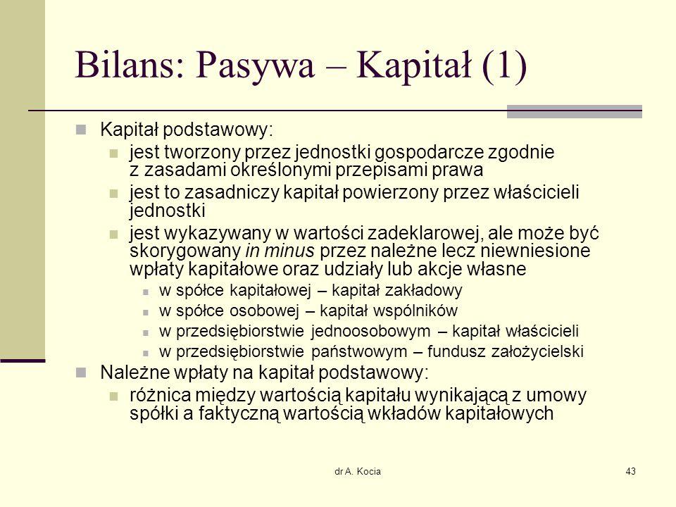 dr A. Kocia43 Bilans: Pasywa – Kapitał (1) Kapitał podstawowy: jest tworzony przez jednostki gospodarcze zgodnie z zasadami określonymi przepisami pra