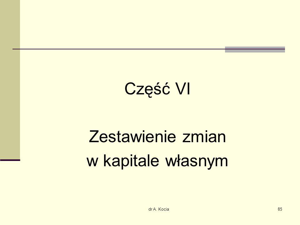 dr A. Kocia85 Część VI Zestawienie zmian w kapitale własnym