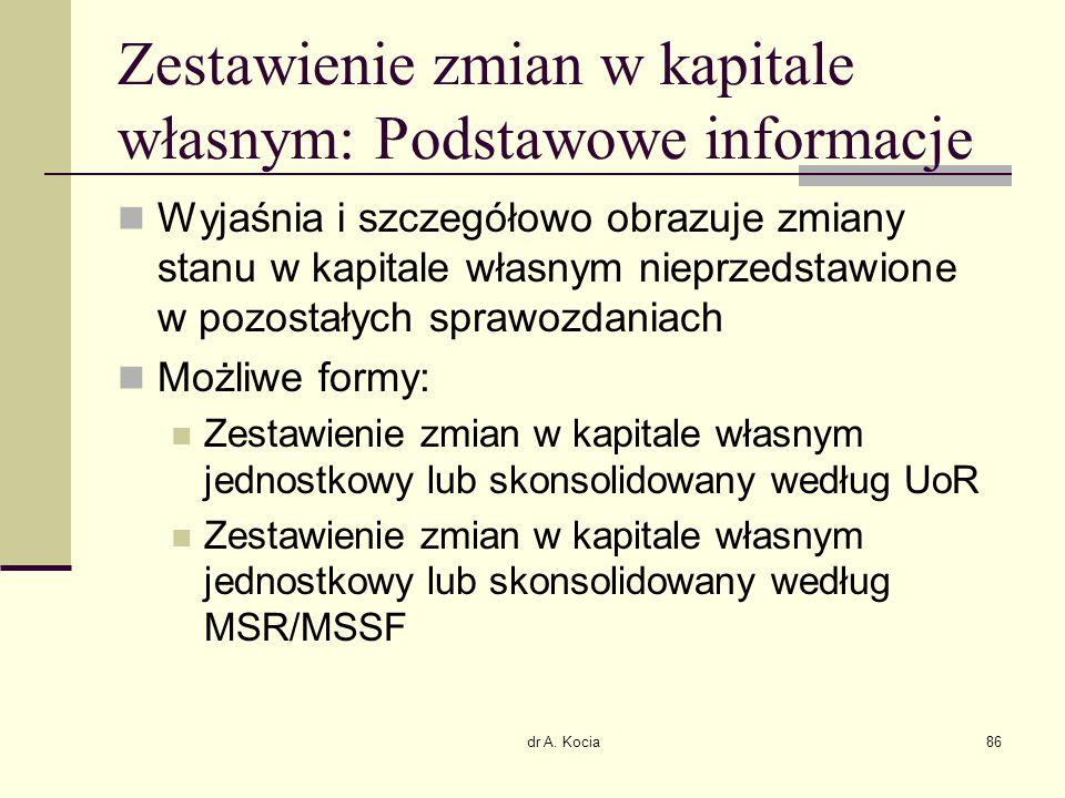 dr A. Kocia86 Zestawienie zmian w kapitale własnym: Podstawowe informacje Wyjaśnia i szczegółowo obrazuje zmiany stanu w kapitale własnym nieprzedstaw