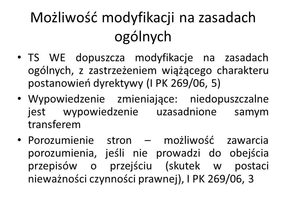 Możliwość modyfikacji na zasadach ogólnych TS WE dopuszcza modyfikacje na zasadach ogólnych, z zastrzeżeniem wiążącego charakteru postanowień dyrektyw