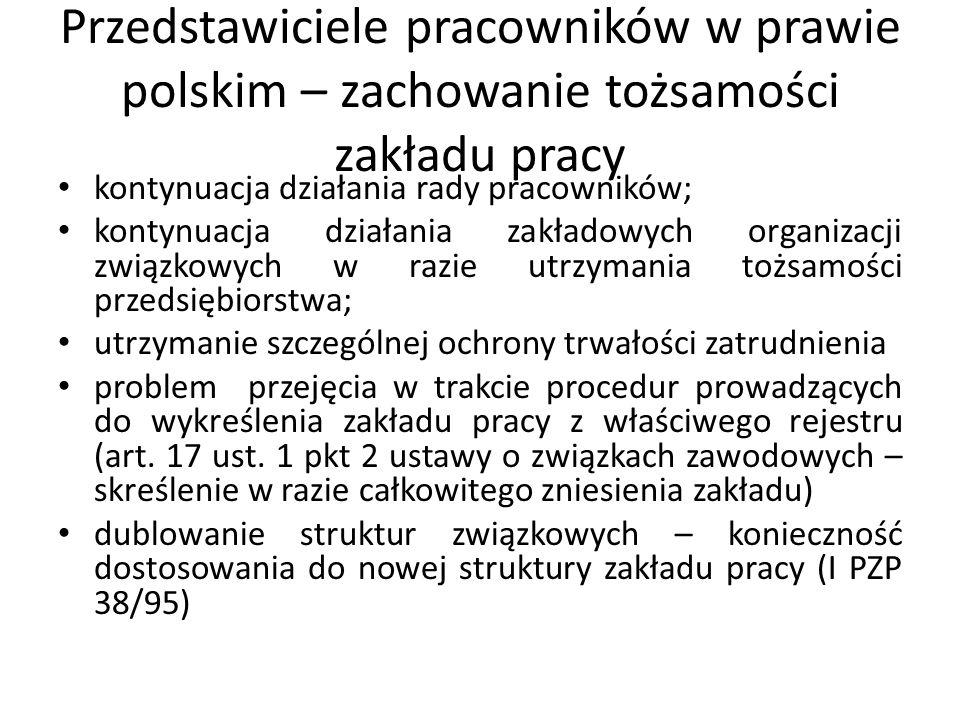 Przedstawiciele pracowników w prawie polskim – zachowanie tożsamości zakładu pracy kontynuacja działania rady pracowników; kontynuacja działania zakła