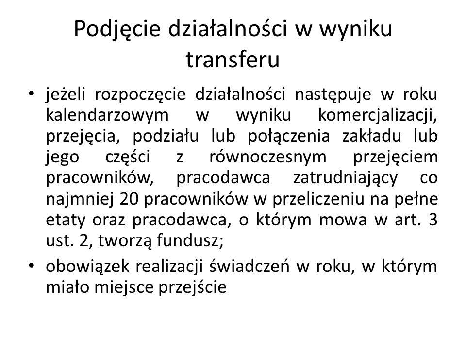 Podjęcie działalności w wyniku transferu jeżeli rozpoczęcie działalności następuje w roku kalendarzowym w wyniku komercjalizacji, przejęcia, podziału