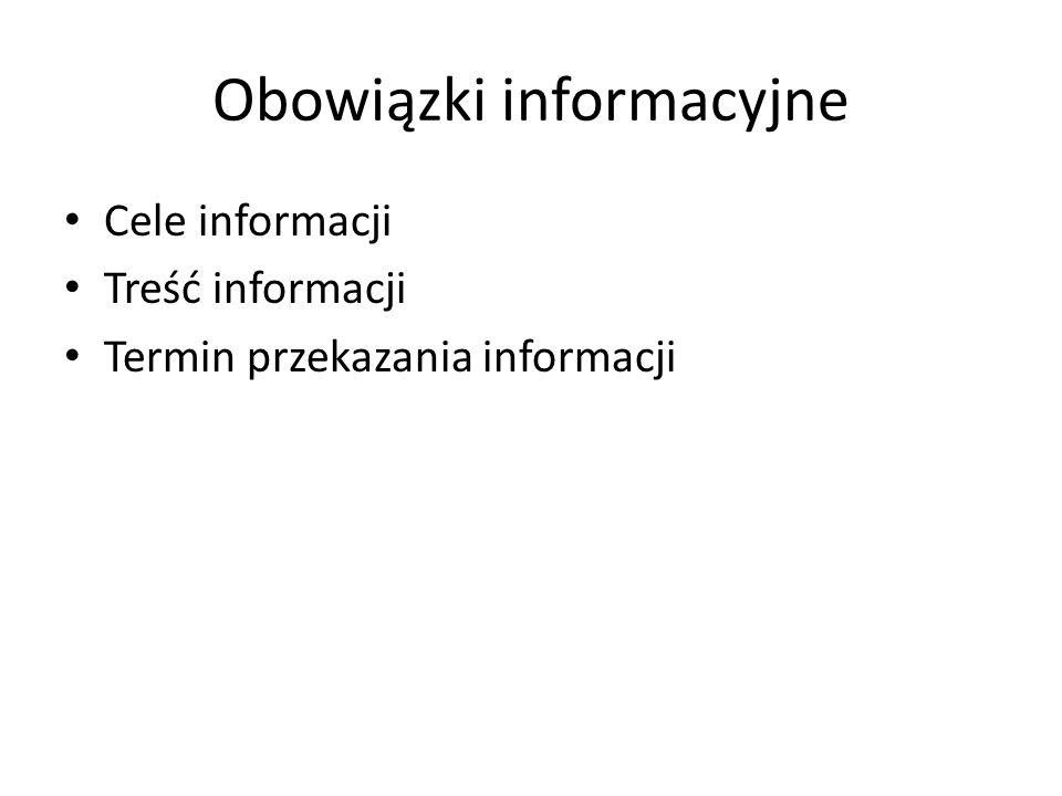 Obowiązki informacyjne Cele informacji Treść informacji Termin przekazania informacji