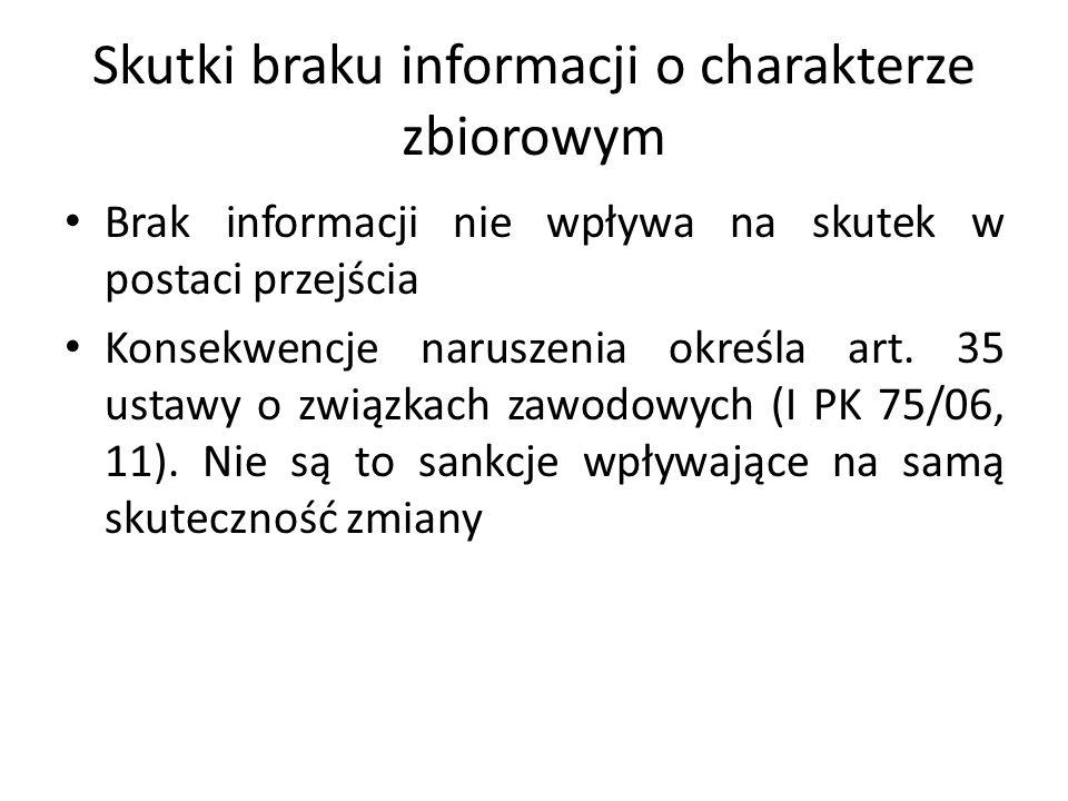 Skutki braku informacji o charakterze zbiorowym Brak informacji nie wpływa na skutek w postaci przejścia Konsekwencje naruszenia określa art. 35 ustaw