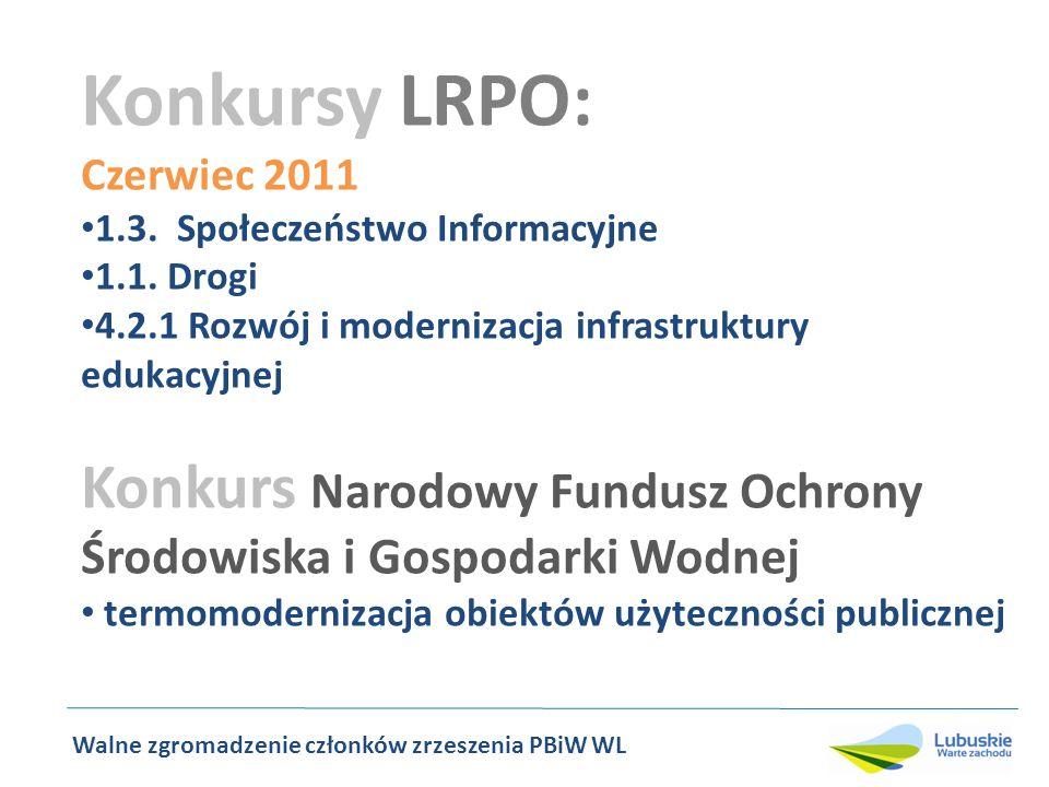 Konkursy LRPO: Czerwiec 2011 1.3. Społeczeństwo Informacyjne 1.1.