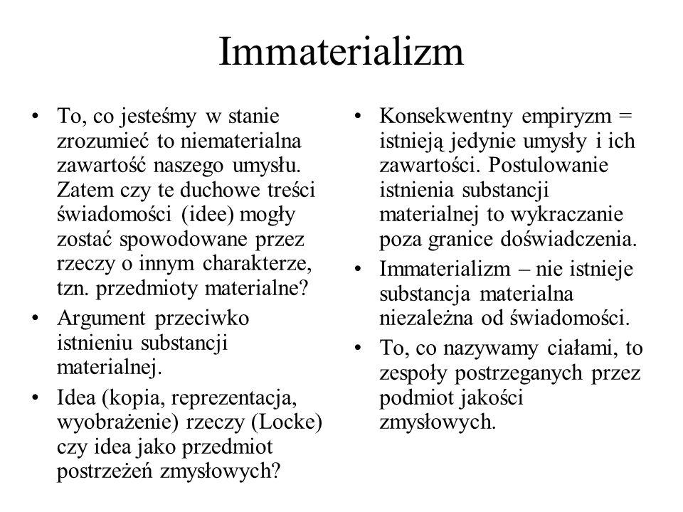 Immaterializm To, co jesteśmy w stanie zrozumieć to niematerialna zawartość naszego umysłu. Zatem czy te duchowe treści świadomości (idee) mogły zosta