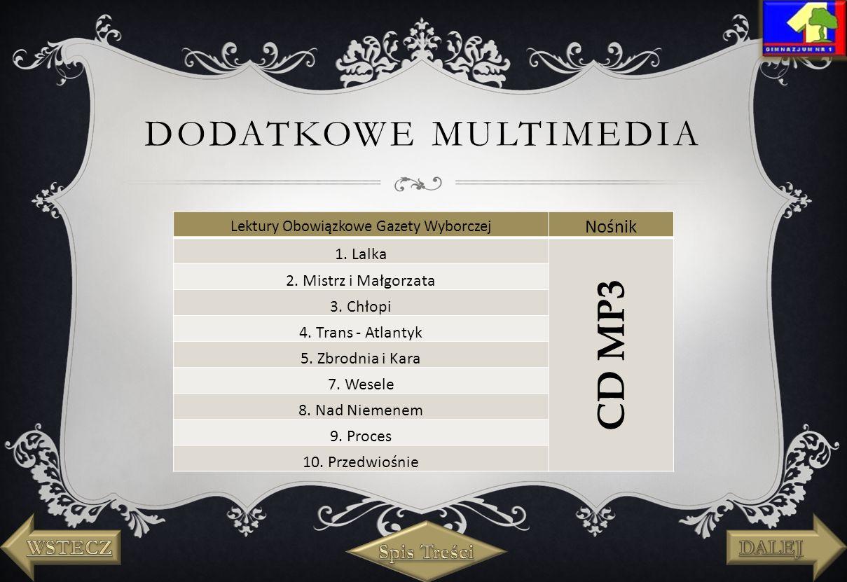 DODATKOWE MULTIMEDIA Lektury Obowiązkowe Gazety Wyborczej Nośnik 1.
