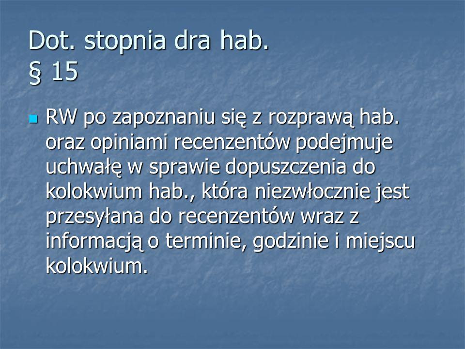 Dot. stopnia dra hab. § 15 RW po zapoznaniu się z rozprawą hab.