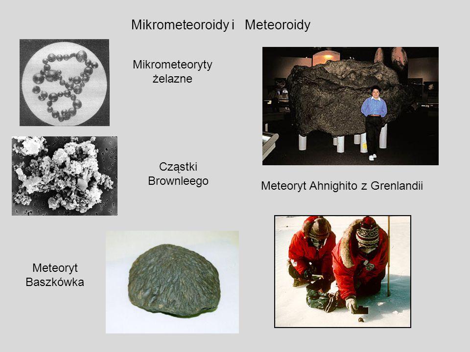 Mikrometeoroidy i Meteoroidy Cząstki Brownleego Mikrometeoryty żelazne Meteoryt Baszkówka Meteoryt Ahnighito z Grenlandii