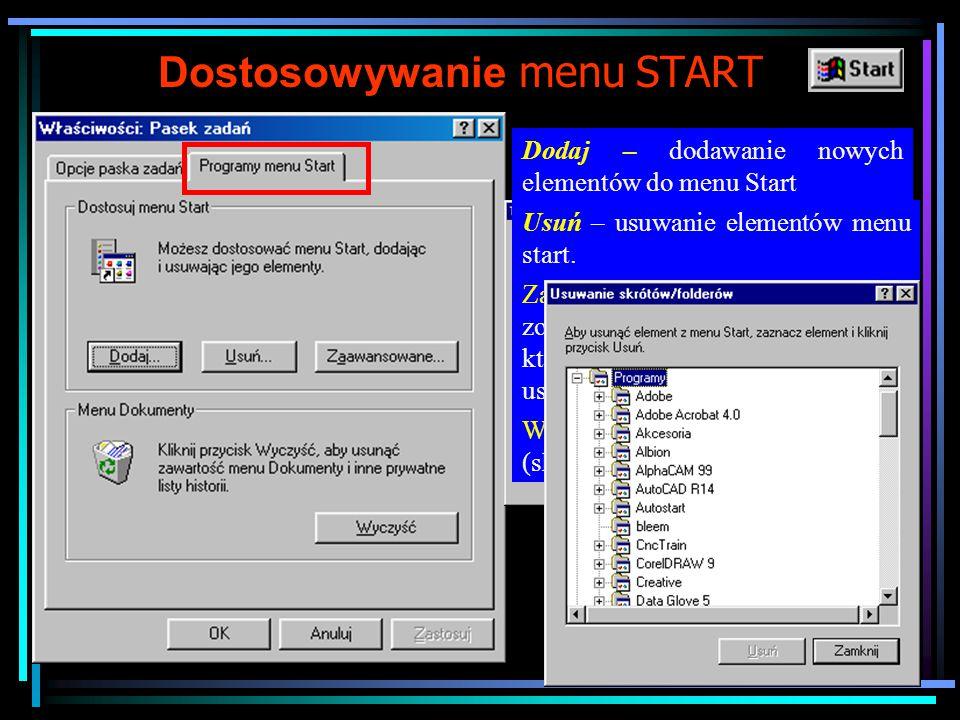 """Dostosowywanie paska zadań Z menu Start wybieramy """"ustawienia i następnie """"pasek zadań i menu start (lub po najechaniu na dowolne puste miejsce na pasku naciskamy prawy klawisz i wybieramy opcje Właściwości) Zawsze na wierzchu – zaznaczenie opcji powoduje że pasek zadań będzie zawsze widoczny, gdy opcja nie jest zaznaczona otwierane okna aplikacji będą przykrywały pasek zadań."""