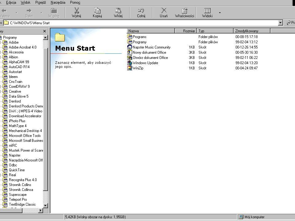 Dostosowywanie menu START Dodaj – dodawanie nowych elementów do menu Start Usuń – usuwanie elementów menu start.