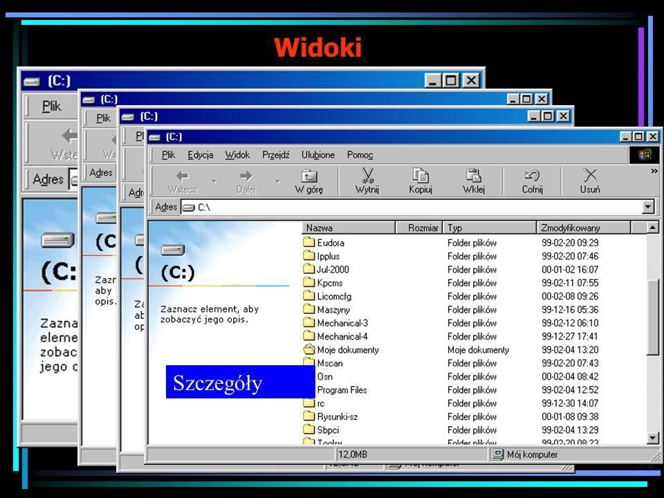 cd. Steruje wyświetlaniem informacji obiektach Polecenia dotyczące sposobu wyświetlania możemy wybierać także z menu rozwijalnego Widok