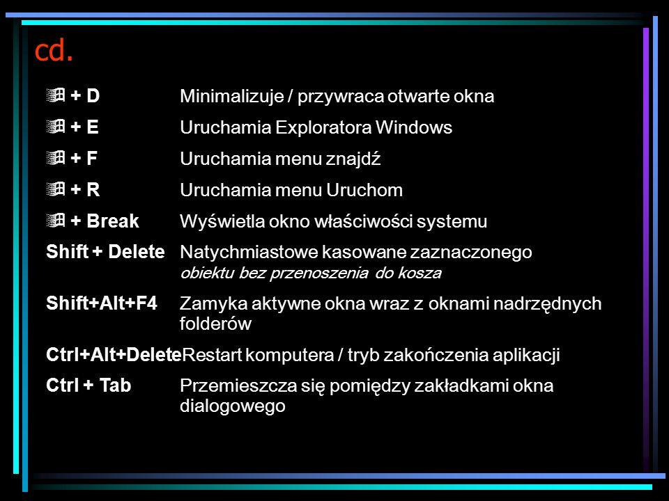 cd. Ctrl + A Zaznacza wszystkie elementy (np.