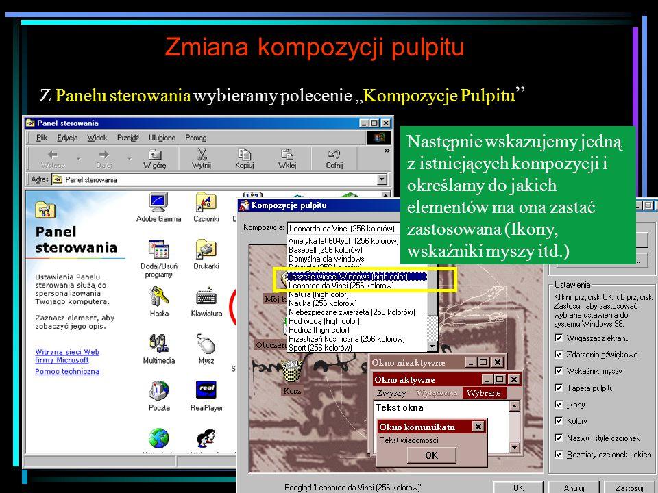 Główne obiekty na pulpicie Skrót uruchamiający folder Moje dokumenty, w którym znajdują się (są zapisywane) dokumenty utworzone w poszczególnych aplikacjach zainstalowanych na danym komputerze (np.