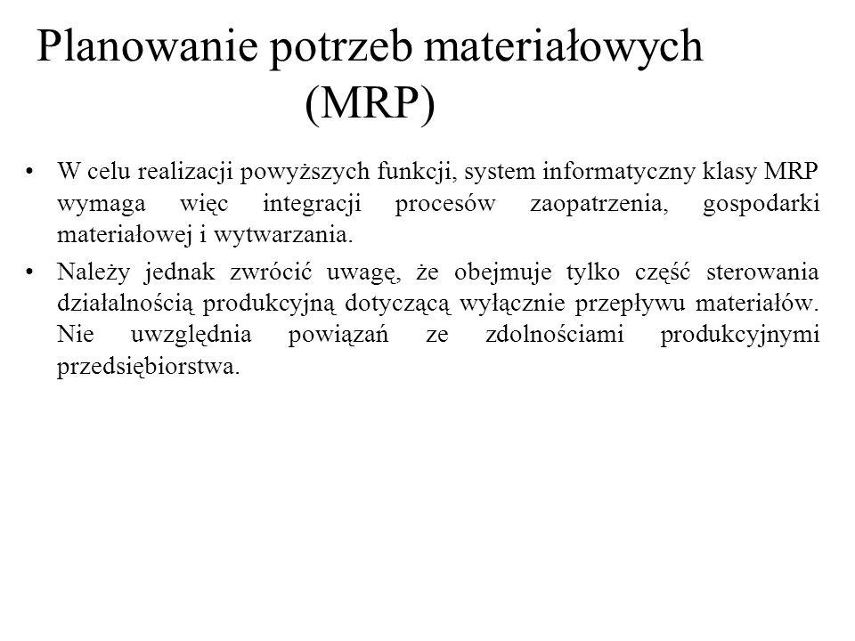 W celu realizacji powyższych funkcji, system informatyczny klasy MRP wymaga więc integracji procesów zaopatrzenia, gospodarki materiałowej i wytwarzan