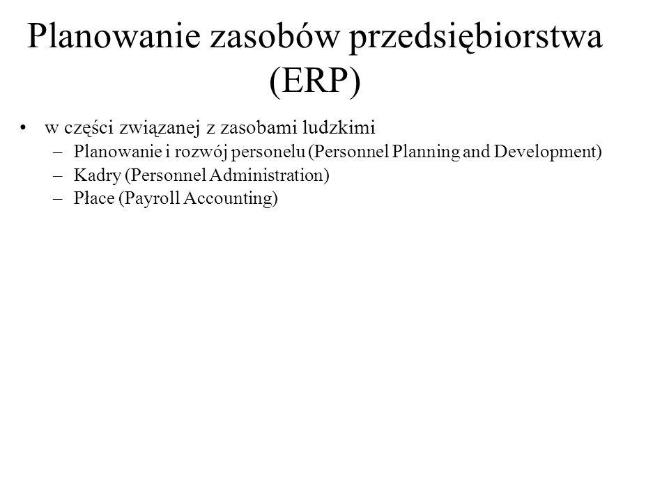 w części związanej z zasobami ludzkimi –Planowanie i rozwój personelu (Personnel Planning and Development) –Kadry (Personnel Administration) –Płace (P