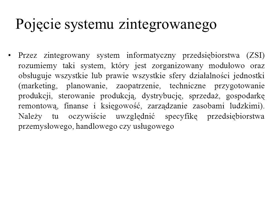 Przez zintegrowany system informatyczny przedsiębiorstwa (ZSI) rozumiemy taki system, który jest zorganizowany modułowo oraz obsługuje wszystkie lub p