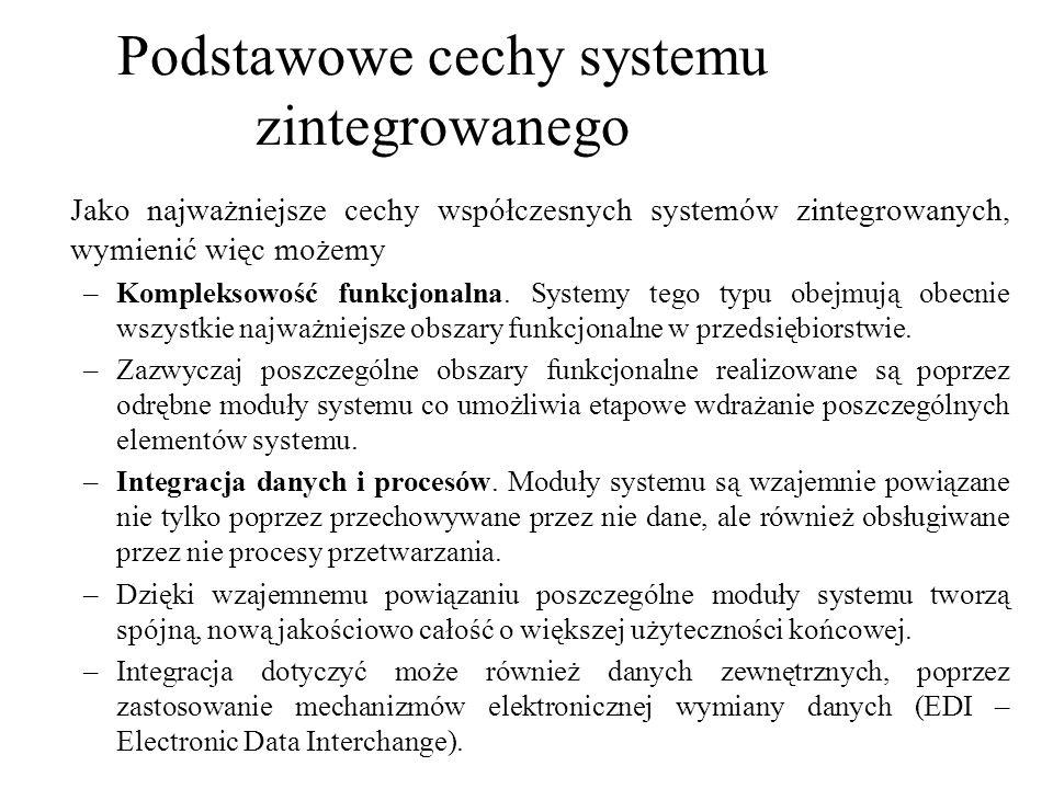 Jako najważniejsze cechy współczesnych systemów zintegrowanych, wymienić więc możemy –Kompleksowość funkcjonalna. Systemy tego typu obejmują obecnie w