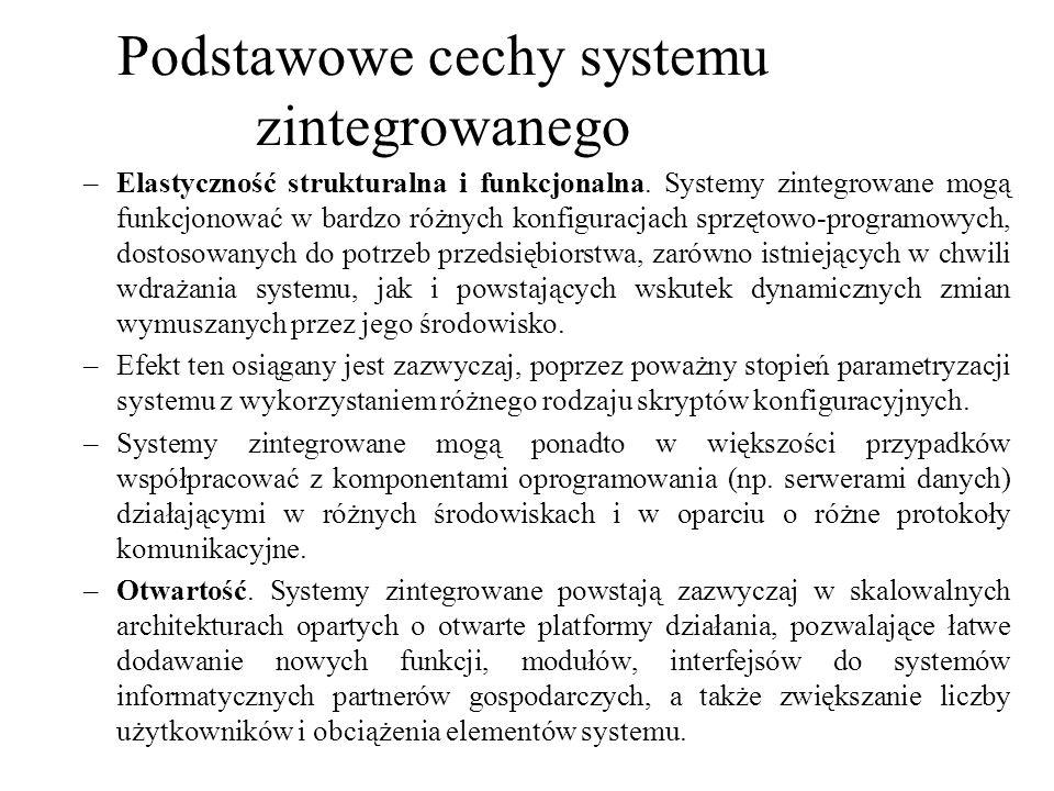 –Elastyczność strukturalna i funkcjonalna. Systemy zintegrowane mogą funkcjonować w bardzo różnych konfiguracjach sprzętowo-programowych, dostosowanyc