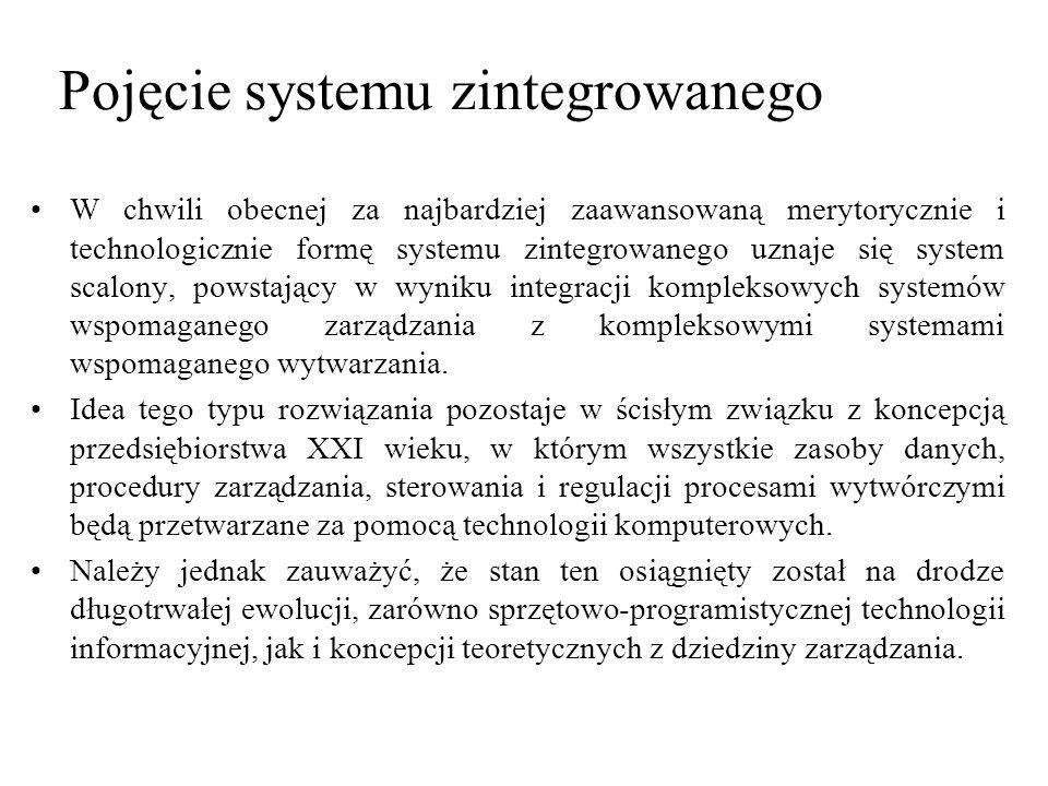 W chwili obecnej za najbardziej zaawansowaną merytorycznie i technologicznie formę systemu zintegrowanego uznaje się system scalony, powstający w wyni