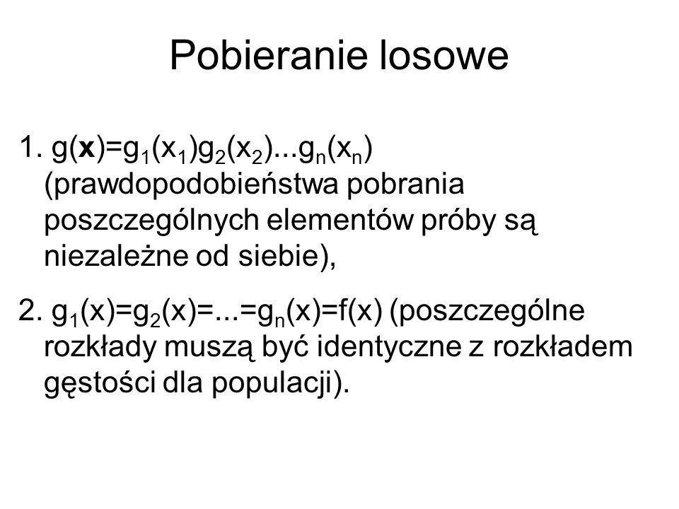 Pobieranie losowe 1. g(x)=g 1 (x 1 )g 2 (x 2 )...g n (x n ) (prawdopodobieństwa pobrania poszczególnych elementów próby są niezależne od siebie), 2. g