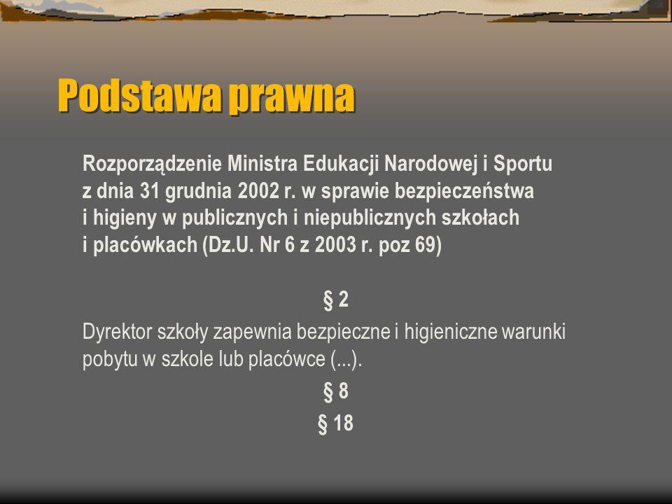 Podstawa prawna Rozporządzenie Ministra Edukacji Narodowej i Sportu z dnia 31 grudnia 2002 r.
