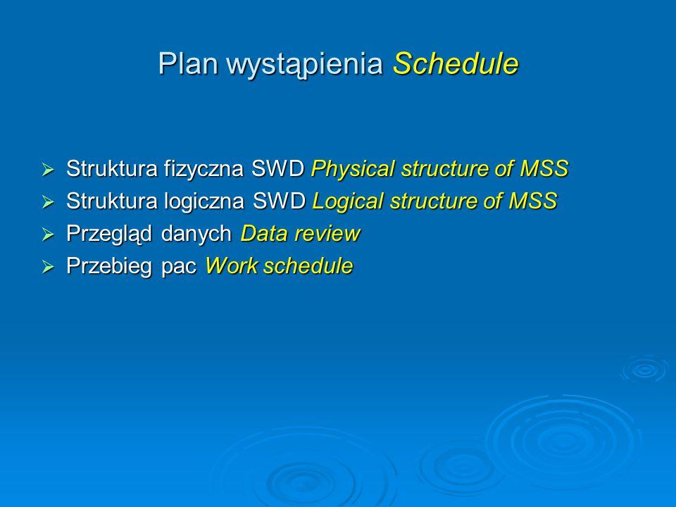 Plan wystąpienia Schedule  Struktura fizyczna SWD Physical structure of MSS  Struktura logiczna SWD Logical structure of MSS  Przegląd danych Data review  Przebieg pac Work schedule
