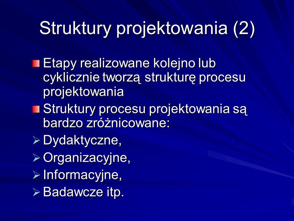 Struktury projektowania - podejście problemowe (1) [Dorasiński, Gasparski, Wrona, 1981] Projektowanie jako postępowanie polegające na rozwiązywaniu problemu Rozwiązaniem problemu może być wybranie najlepszego sposobu działania Droga od sformułowania problemu do rozwiązania zależy od stopnia skomplikowania Ze wzrostem skomplikowania wzrasta ilość cykli wewnętrznych