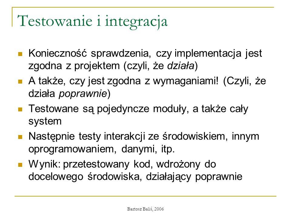 Bartosz Baliś, 2006 Testowanie i integracja Konieczność sprawdzenia, czy implementacja jest zgodna z projektem (czyli, że działa) A także, czy jest zgodna z wymaganiami.