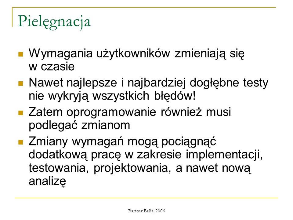 Bartosz Baliś, 2006 Pielęgnacja Wymagania użytkowników zmieniają się w czasie Nawet najlepsze i najbardziej dogłębne testy nie wykryją wszystkich błędów.