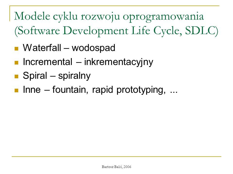 Bartosz Baliś, 2006 Modele cyklu rozwoju oprogramowania (Software Development Life Cycle, SDLC) Waterfall – wodospad Incremental – inkrementacyjny Spiral – spiralny Inne – fountain, rapid prototyping,...