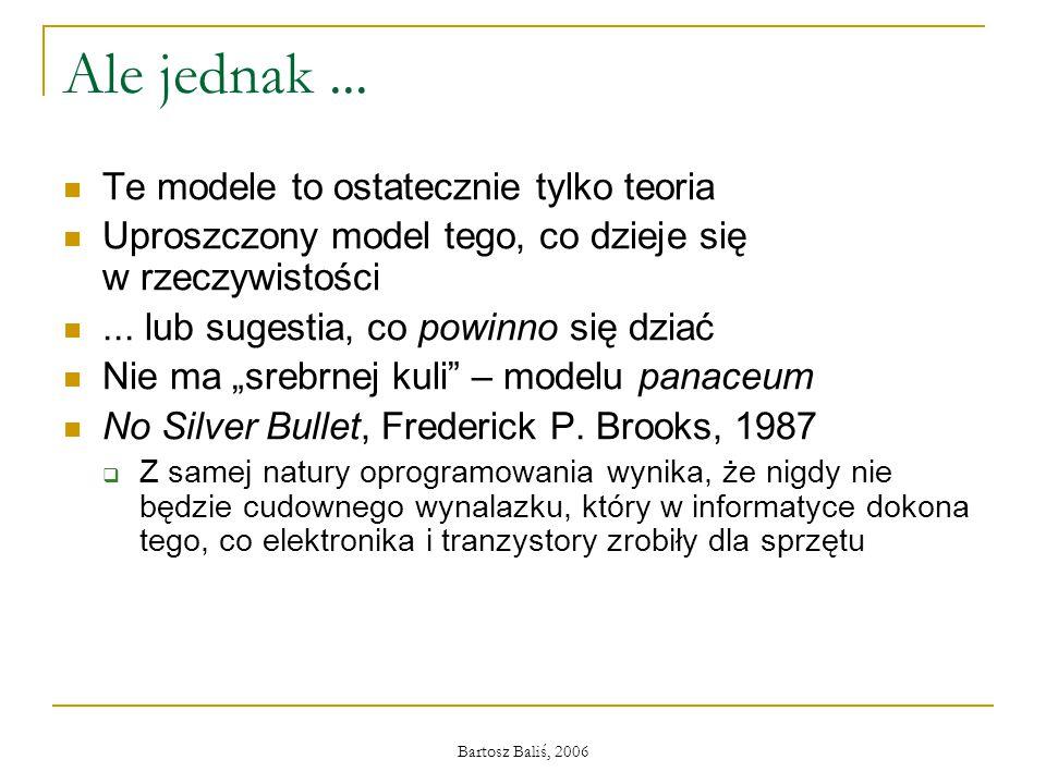 Bartosz Baliś, 2006 Ale jednak... Te modele to ostatecznie tylko teoria Uproszczony model tego, co dzieje się w rzeczywistości... lub sugestia, co pow