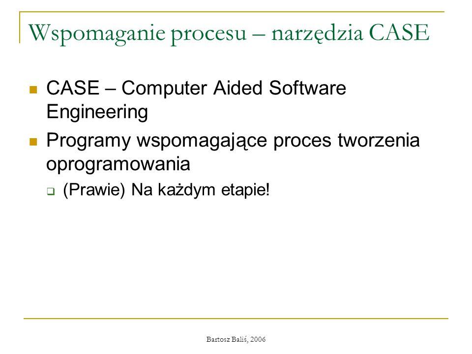 Bartosz Baliś, 2006 Wspomaganie procesu – narzędzia CASE CASE – Computer Aided Software Engineering Programy wspomagające proces tworzenia oprogramowania  (Prawie) Na każdym etapie!