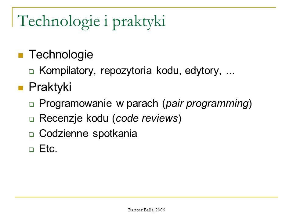 Bartosz Baliś, 2006 Technologie i praktyki Technologie  Kompilatory, repozytoria kodu, edytory,... Praktyki  Programowanie w parach (pair programmin