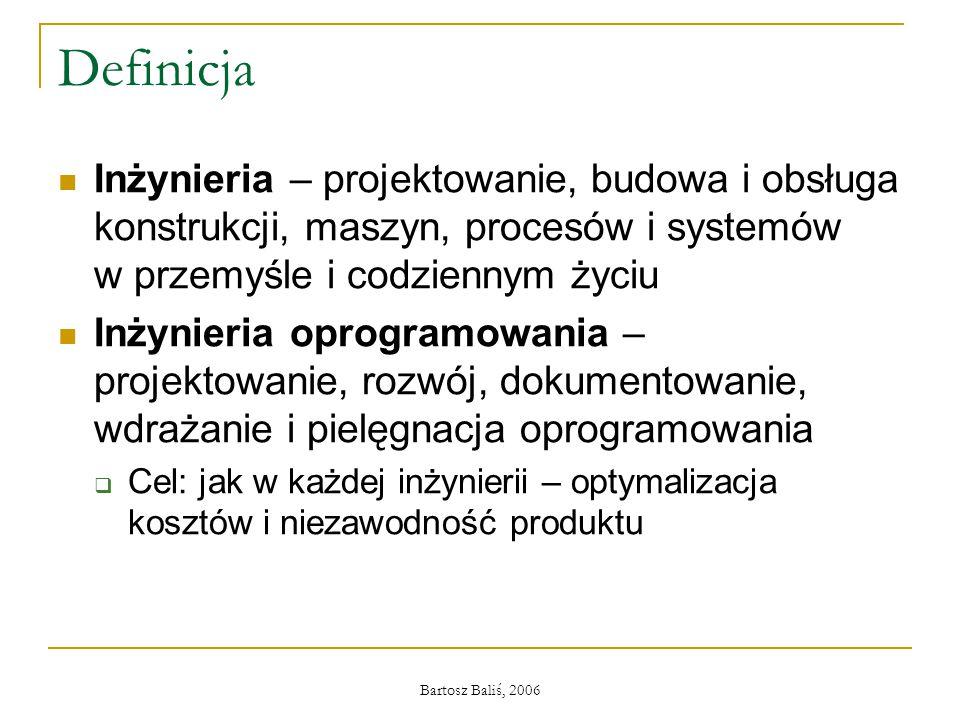 Bartosz Baliś, 2006 Definicja Inżynieria – projektowanie, budowa i obsługa konstrukcji, maszyn, procesów i systemów w przemyśle i codziennym życiu Inż