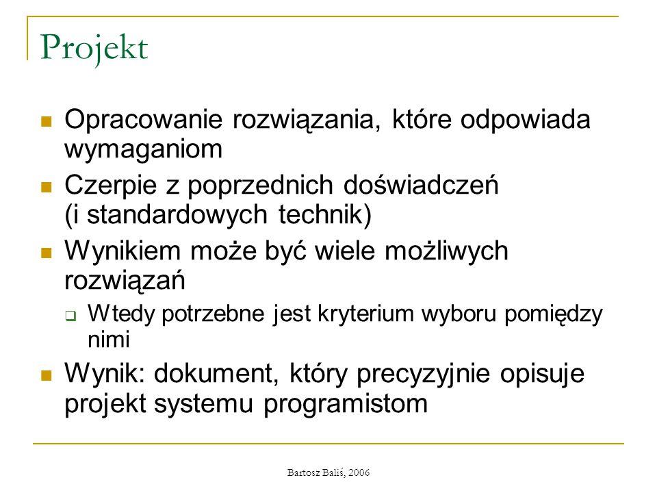 Bartosz Baliś, 2006 Projekt Opracowanie rozwiązania, które odpowiada wymaganiom Czerpie z poprzednich doświadczeń (i standardowych technik) Wynikiem m