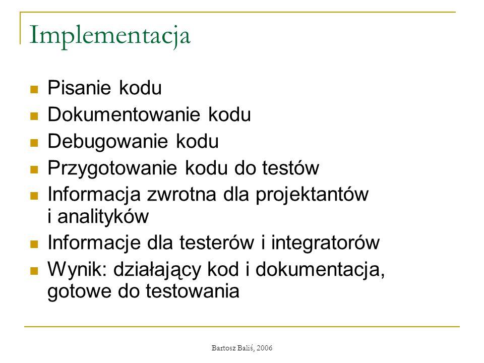 Bartosz Baliś, 2006 Implementacja Pisanie kodu Dokumentowanie kodu Debugowanie kodu Przygotowanie kodu do testów Informacja zwrotna dla projektantów i analityków Informacje dla testerów i integratorów Wynik: działający kod i dokumentacja, gotowe do testowania