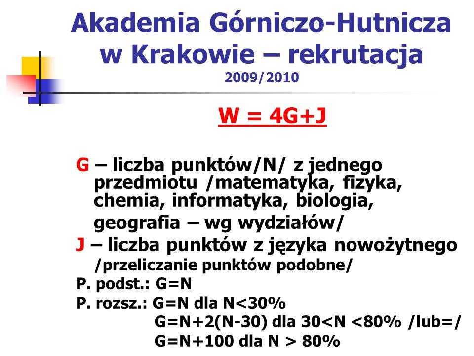 Akademia Górniczo-Hutnicza w Krakowie – rekrutacja 2009/2010 W = 4G+J G – liczba punktów/N/ z jednego przedmiotu /matematyka, fizyka, chemia, informatyka, biologia, geografia – wg wydziałów/ J – liczba punktów z języka nowożytnego /przeliczanie punktów podobne/ P.