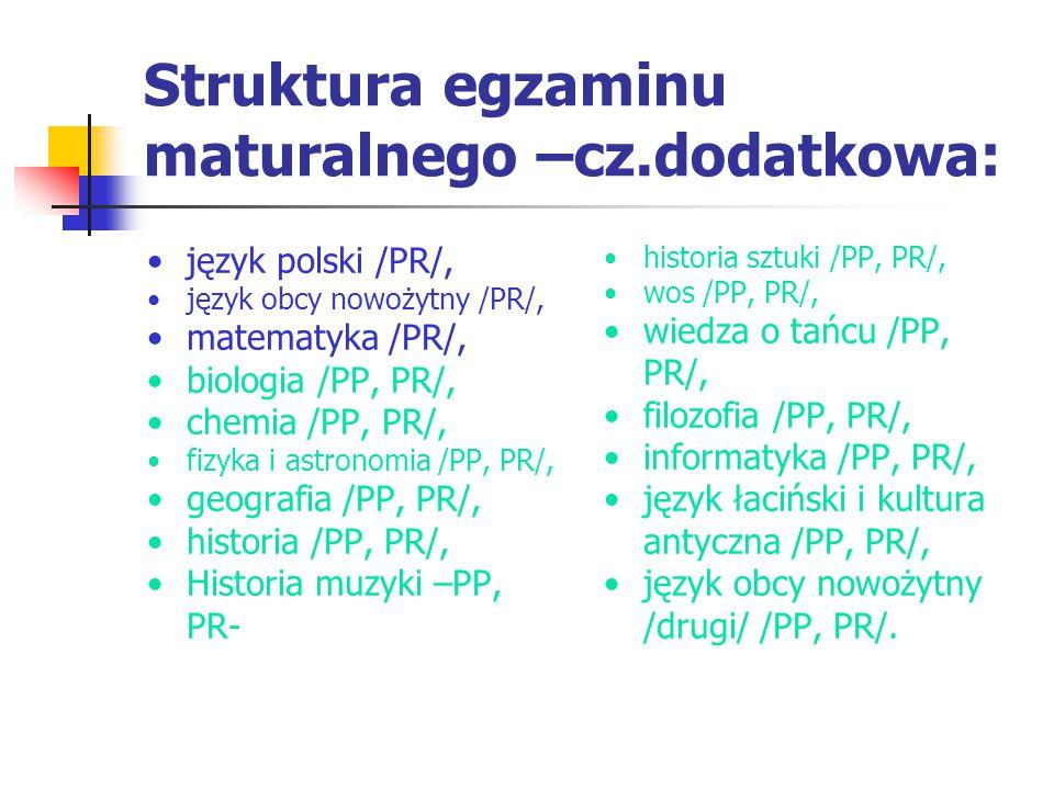 Struktura egzaminu maturalnego –cz.dodatkowa: język polski /PR/, język obcy nowożytny /PR/, matematyka /PR/, biologia /PP, PR/, chemia /PP, PR/, fizyka i astronomia /PP, PR/, geografia /PP, PR/, historia /PP, PR/, Historia muzyki –PP, PR- historia sztuki /PP, PR/, wos /PP, PR/, wiedza o tańcu /PP, PR/, filozofia /PP, PR/, informatyka /PP, PR/, język łaciński i kultura antyczna /PP, PR/, język obcy nowożytny /drugi/ /PP, PR/.