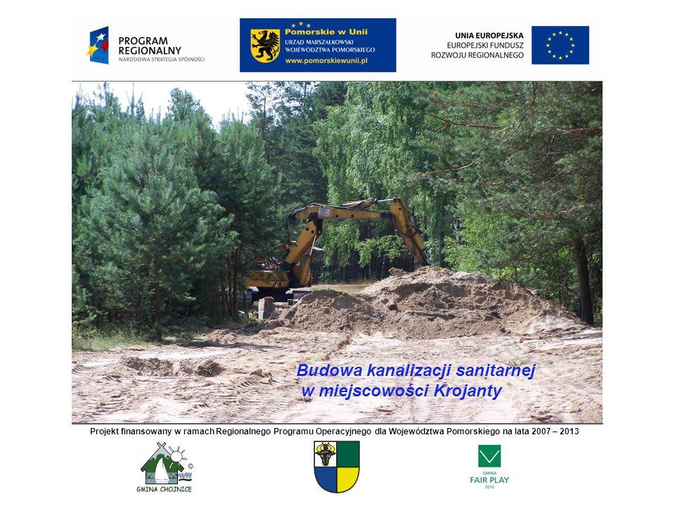Budowa kanalizacji sanitarnej w miejscowości Krojanty