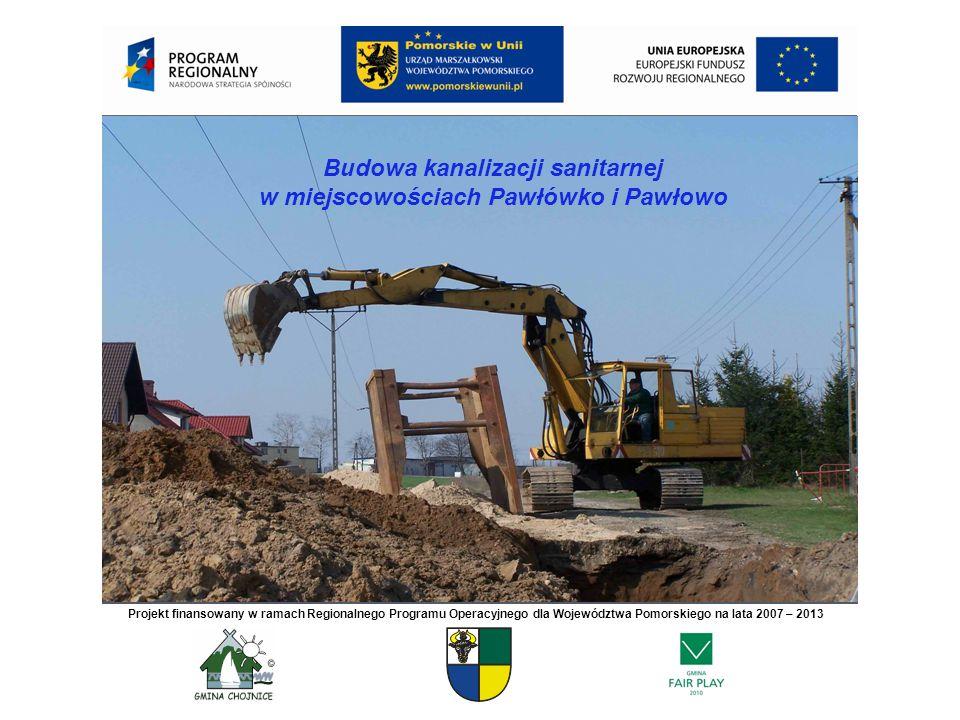 Budowa kanalizacji sanitarnej w miejscowościach Pawłówko i Pawłowo