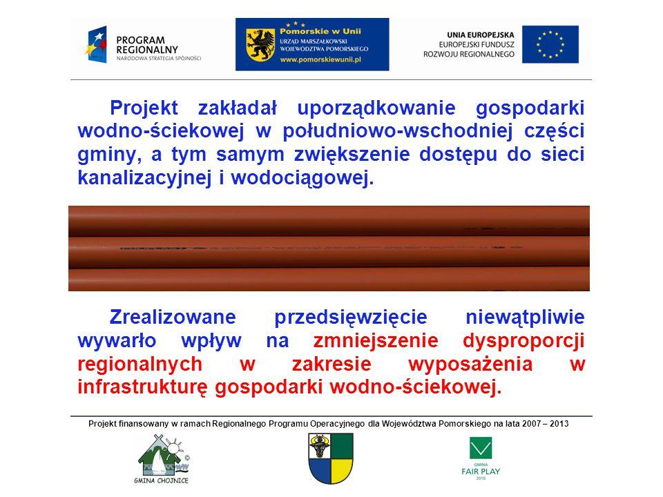 Projekt zakładał uporządkowanie gospodarki wodno-ściekowej w południowo-wschodniej części gminy, a tym samym zwiększenie dostępu do sieci kanalizacyjnej i wodociągowej.